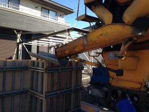 コンクリート打ち放しの時に使用する木製型枠